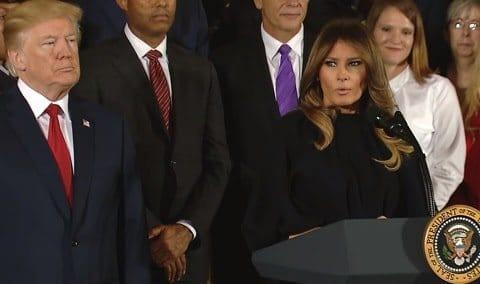 מלניה מדברת על המגפה באירוע בבית הלבן. צילום מסך: יוטיוב