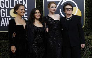 נשות #TimesUp על השטיח האדום: נטלי פורטמן, אמריקה פררה, אמה סטון ובילי ג'ין קינג. צילום: רויטרס
