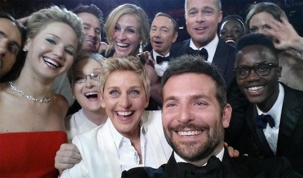 במיקרוקוסמוס של הוליווד יש רוב מוחץ של גברים לבנים. הסלפי של אלן, צילום מסך מטוויטר