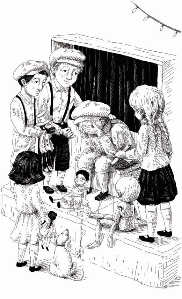 מתוך הספר תאטרון הילדים מאת שלומית הרטמייר, איור ענבל אבן