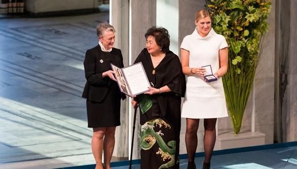 טקס חלוקת פרס נובל לקמפיין הבינלאומי לפירוז נשק גרעיני