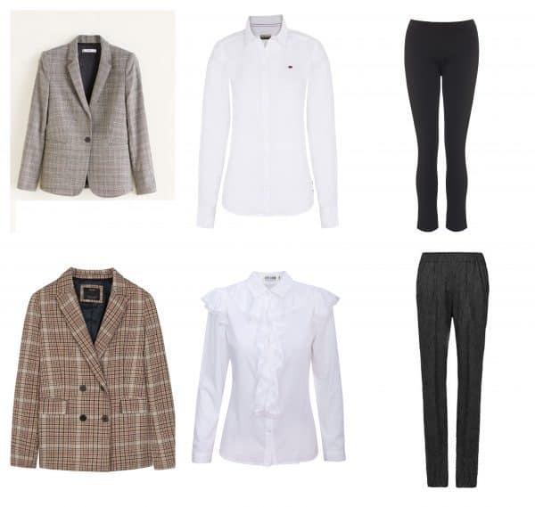 מימין למעלה: מכנסיים, מאיה נגרי. מחיר: 895; חולצה: NAPAPIJRI, מחיר: 600 שקל; ז'קט: מנגו, מחיר: 360 שקל.  מימין למטה: מכנסיים, סבינה מוסייב, מחיר: 490 שקל; חולצה, אייס קיוב, מחיר: 299 שקל; ז'קט: ברשקה 199 שקל