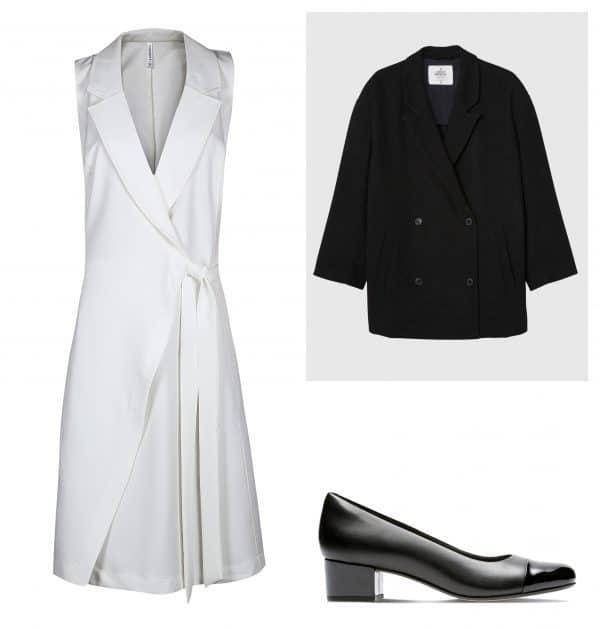 ז'קט: בל אנד סו. מחיר: 759 שקל; שמלה: דיסקריט, מחיר: 225 שקל; נעליים: קלארקס, מחיר: 400 שקל