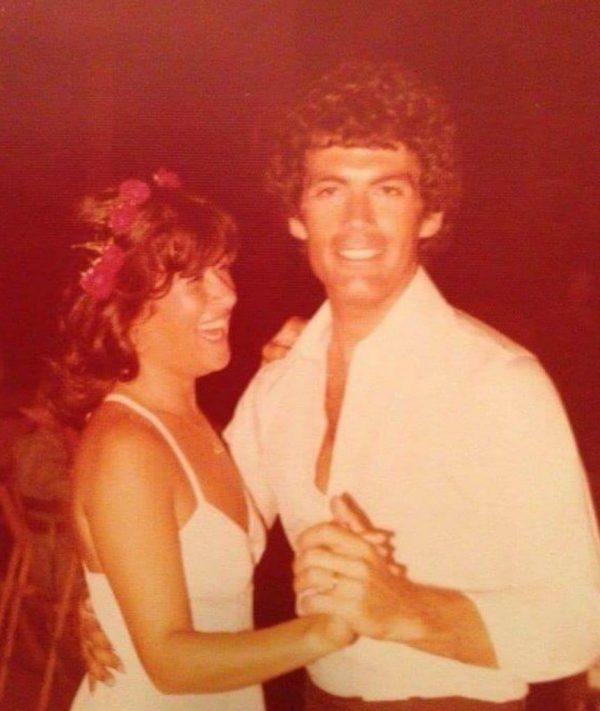 ציפי שביט עם אבישי דקל ביום חתונתם. צילום ביתי