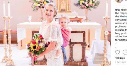 """כלה התחתנה כשהתינוקת שלה במנשא על גבה: """"היום הזה לא היה שלם בלעדיה"""""""