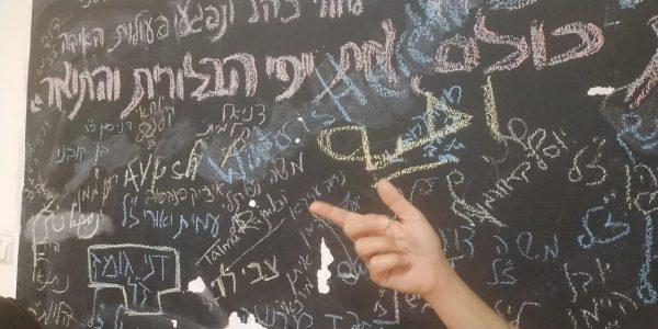 כיתובים בערבית מסתירים את שמות הנופלים, נראות מחיקות רבות. צילומים באדיבות סטודנטיות במכללה