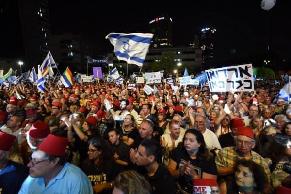 הקהל בהפגנה אמש
