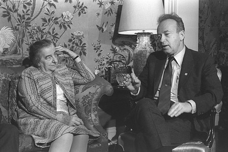 """גולדה מאיר ויצחק רבין. תמונה:  משה מילנר, לע""""מ"""