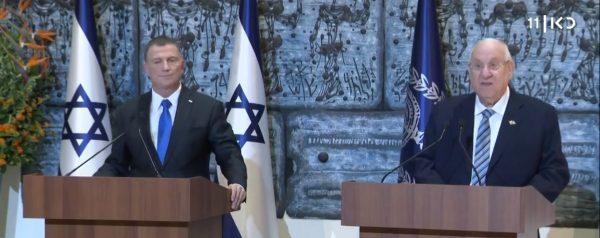 """נשיא המדינה רובי ריבלין ויו""""ר הכנסת יולי אדלשטיין. צילום מסך כאן"""