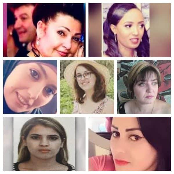 20 נשים נרצחו השנה. בתמונה מימין למעלה מאסטוול אלאזה, לשמאלה ילנה יצחקבייב, שורה שנייה מימין טטיאנה חייקין, במרכז מאיה ווישניאק, משמאל נסרין עבד אל-חפיד ג'בארה. שורה תחתונה מימין נג'ח מנסור, לצידה משמאל נבין אלעמרני