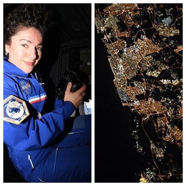 """ג'סיקה מאיר מצלמת מתחנת החלל (צילום נאס""""א). בצילום מימין תל אביב כפי שצילמה אותה מאיר"""